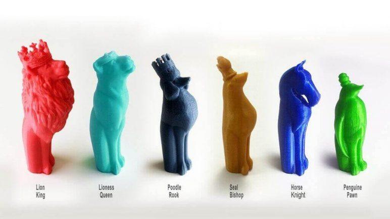 Image of 3D Printed Chess Set: Animal Chess Set