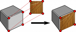 Illustration of how texture mapping is used to encode color and texture information of one side of a cube