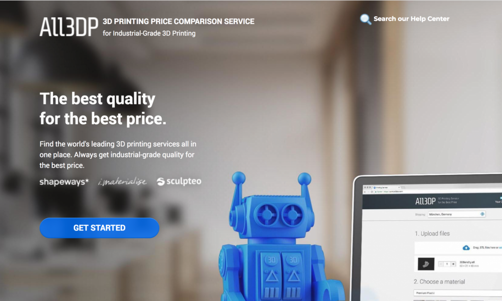 3D Printing Price Comparison Service for Industrial-Grade 3D Printing