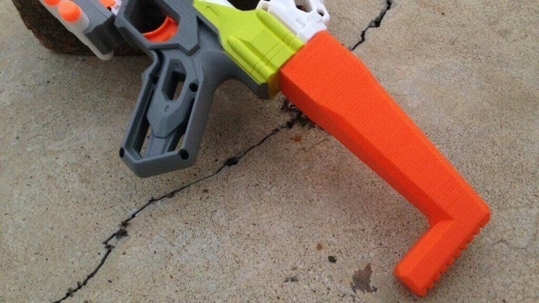 Image of 3D Printed Nerf Gun Parts, Mods & Attachments: Small Nerf Stock