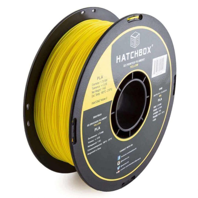 Image of Best Selling 3D Printer Filament on Amazon: HATCHBOX 3D PLA Yellow