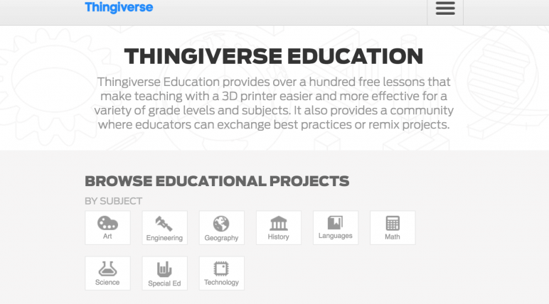 Image of Resources for 3D Printing Classes and Curriculum: MakerBot/Thingiverse Education