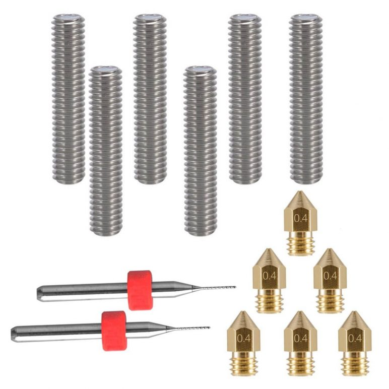 Image of Essential 3D Printer Parts & Accessories: Eaone Extruder Tube and Nozzle Bundle for MK8 Makerbot Reprap 3D Printers