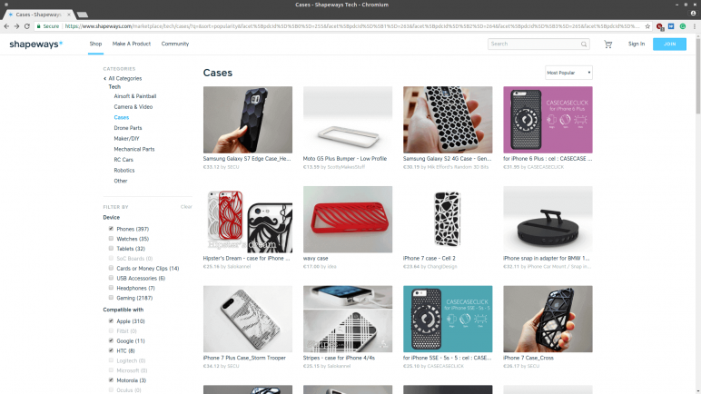 Image of Sources for 3D Printed Phone Cases: Shapeways