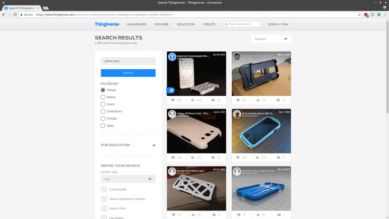 Image of Sources for 3D Printed Phone Cases: Thingiverse