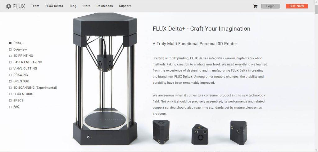 3D printing kickstarter Flux Delta Plus