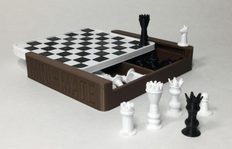 Image of 3D Printed Chess Set: Mini-Mate Travel Chess Set