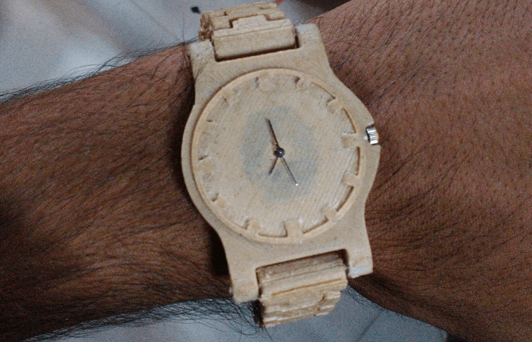 This beautiful watch was printed using a composite material containing wood