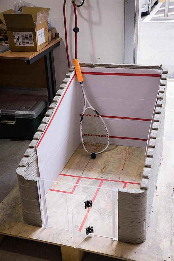 A miniature squash court made out of the fly ash based 3D printing material