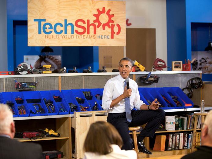 Former President Obama visits a TechShop in Pittsburgh in June, 2014