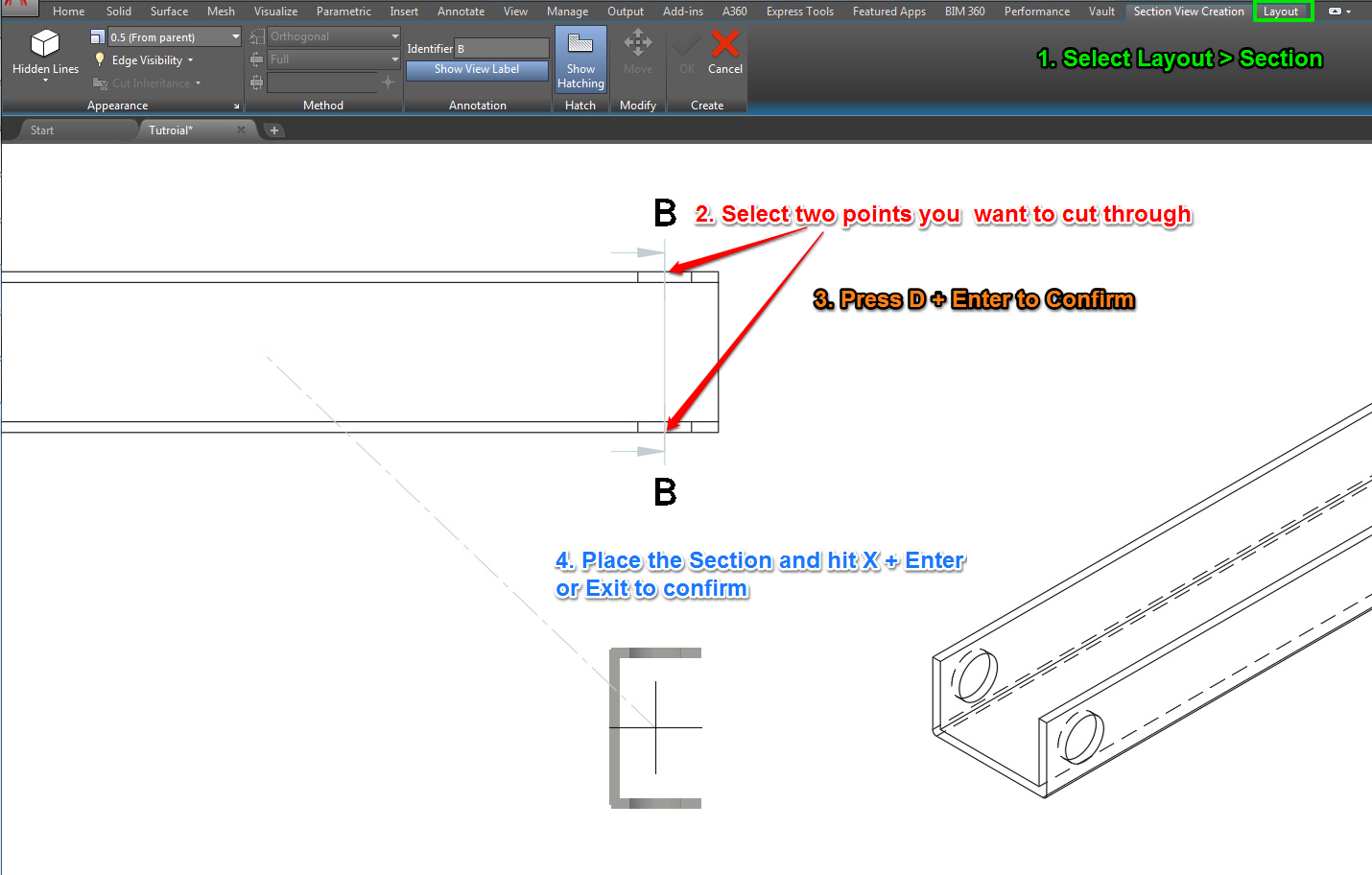 autocad section view