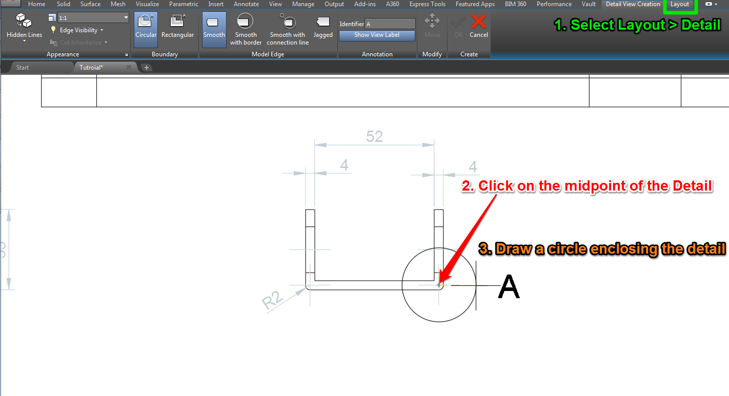 autocad detailed view
