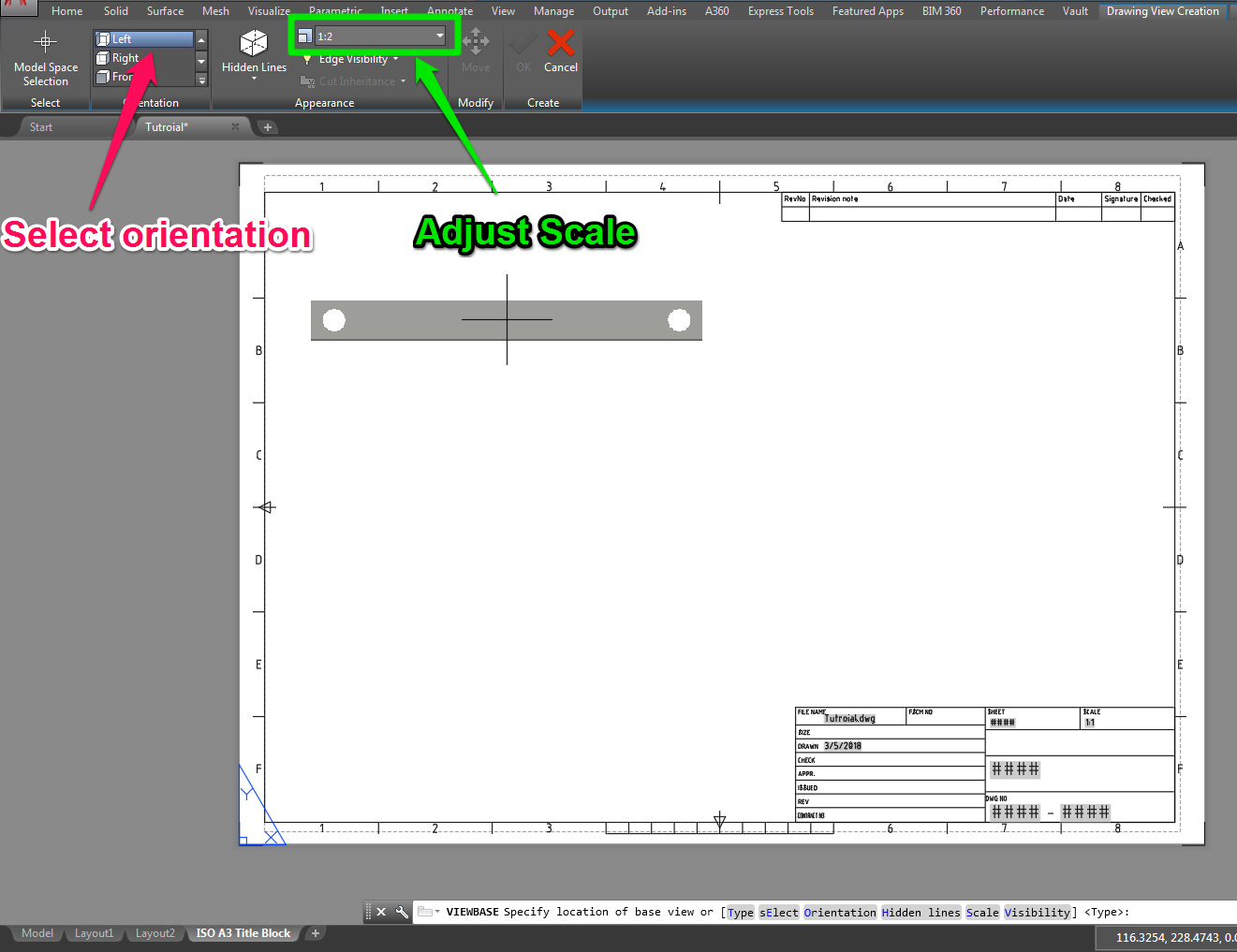 autocad tutorial adjust base