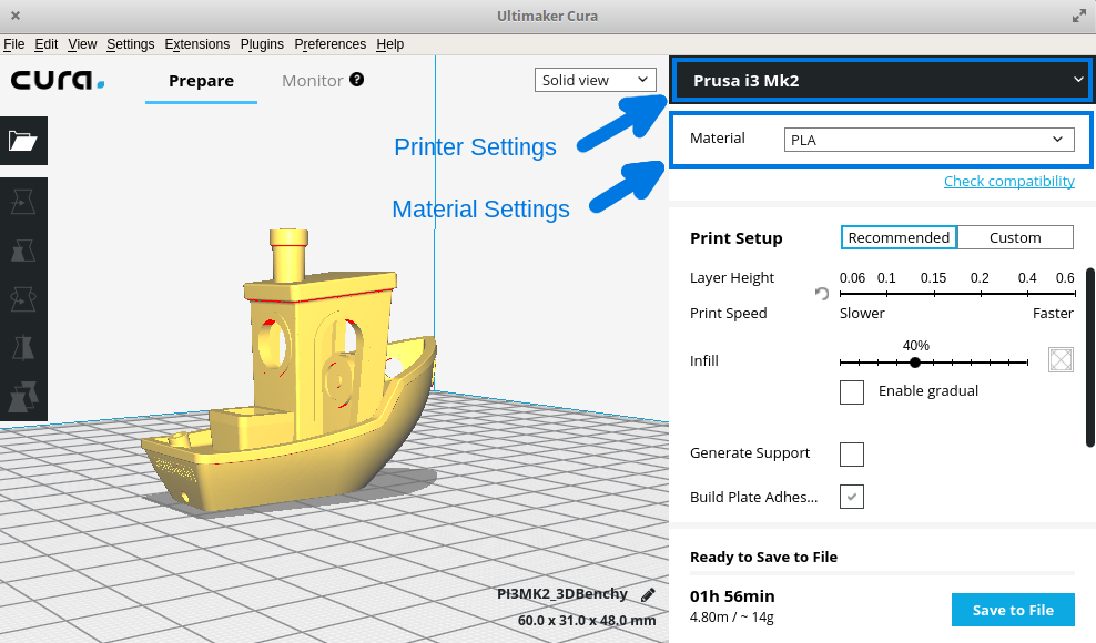 Printer and Material settings in the Cura GUI