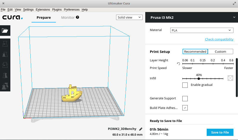 A model in the Cura workspace
