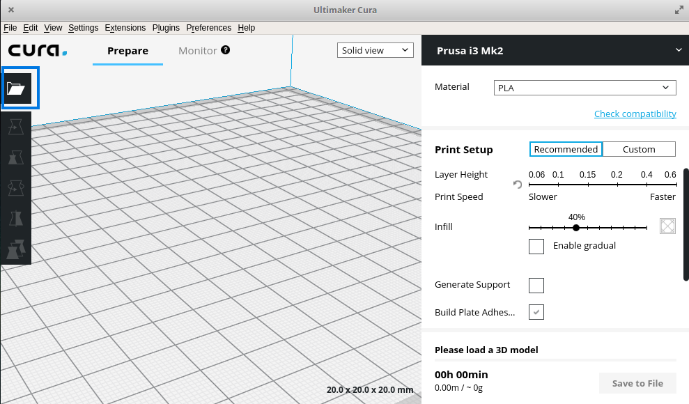 The floating folder icon can be used to import models in Cura