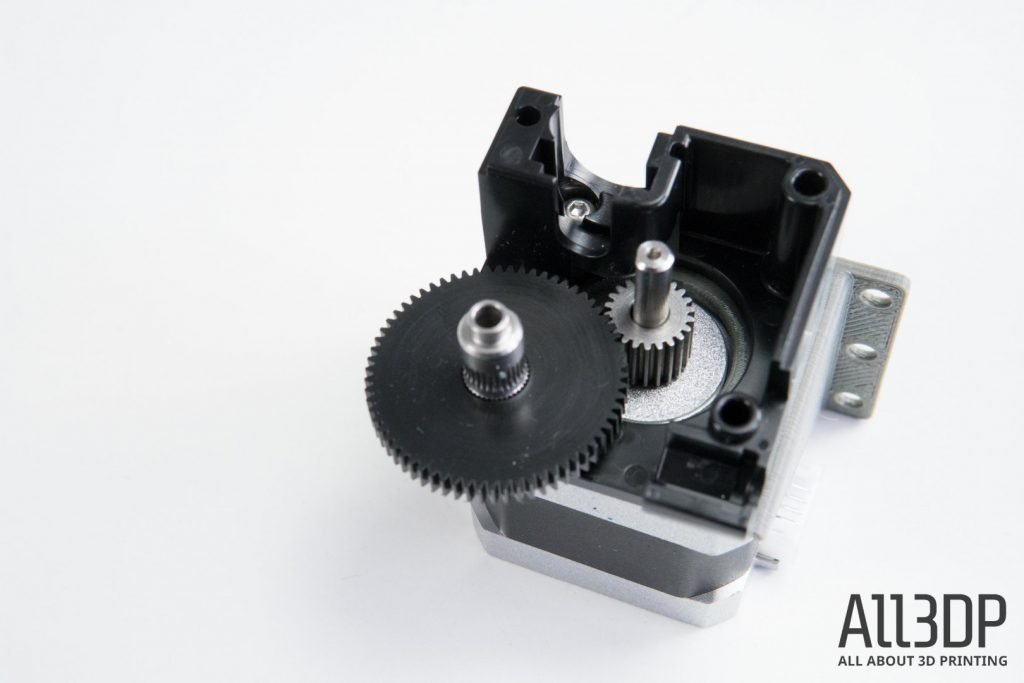 3D printer extruder cutaway view of gearing