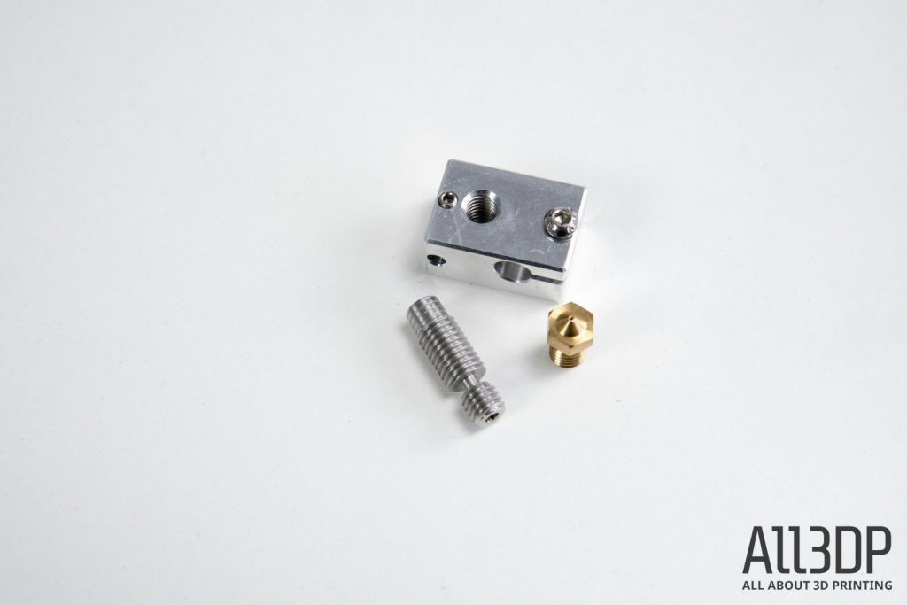 3d printer extruder guide heater block, heatbreak and nozzle