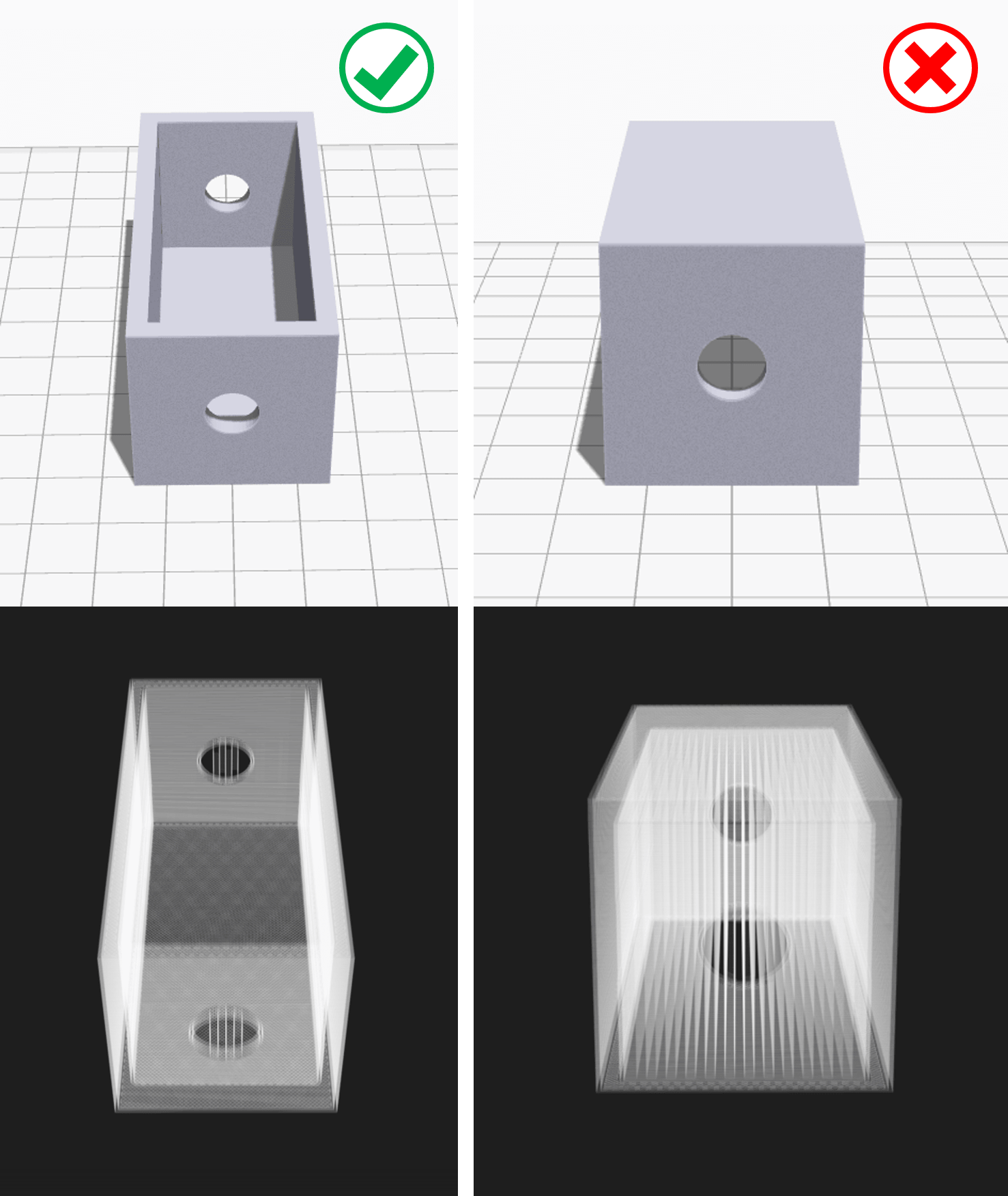 You can often minimize the use of 3D printing support structures by cleverly reorienting the model on the build plate (source : Markforged)