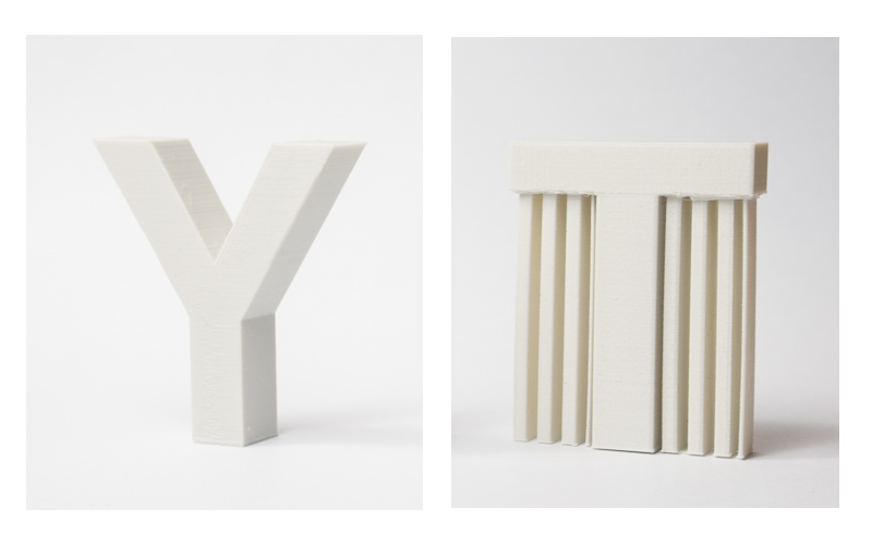 The overhangs in the letter Y do not require 3D printing support structures. The ones in the letter T does.