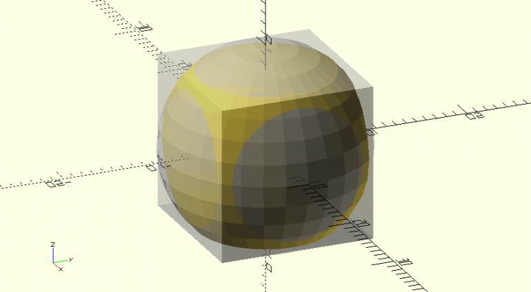 Intersection overlaps: component parts in grey, final part in yellow