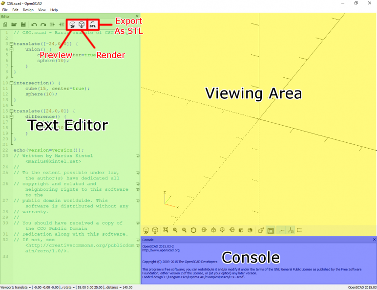 Image of: 2a. The OpenSCAD Interface: The Text Editor