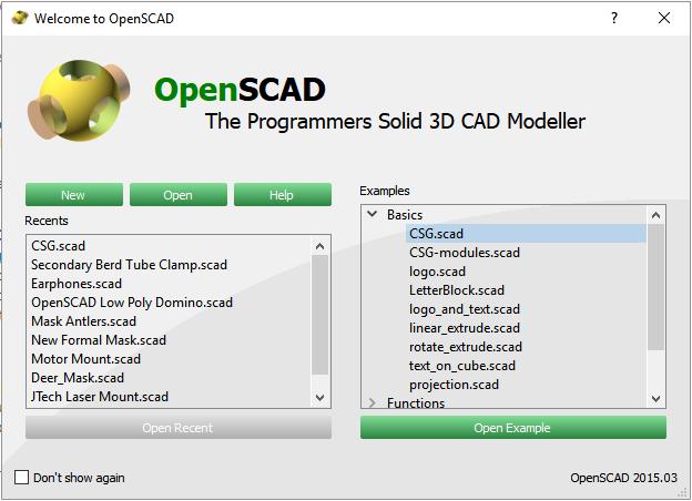 Image of: 1b. The OpenSCAD Splash Screen