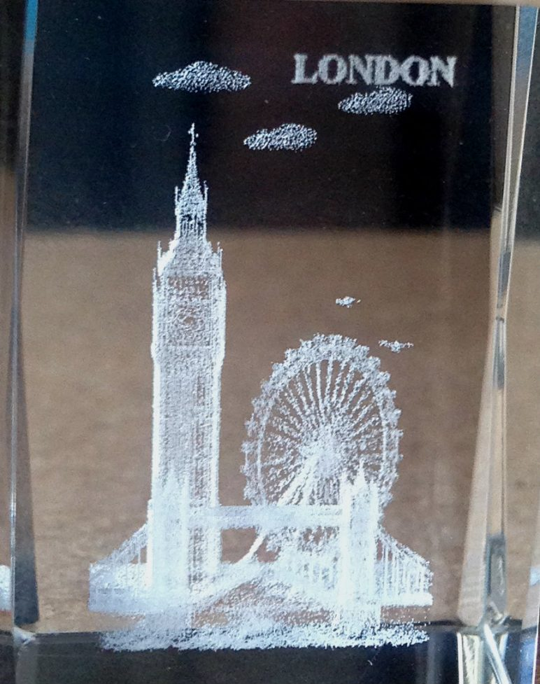 Laser engraving of a London cube