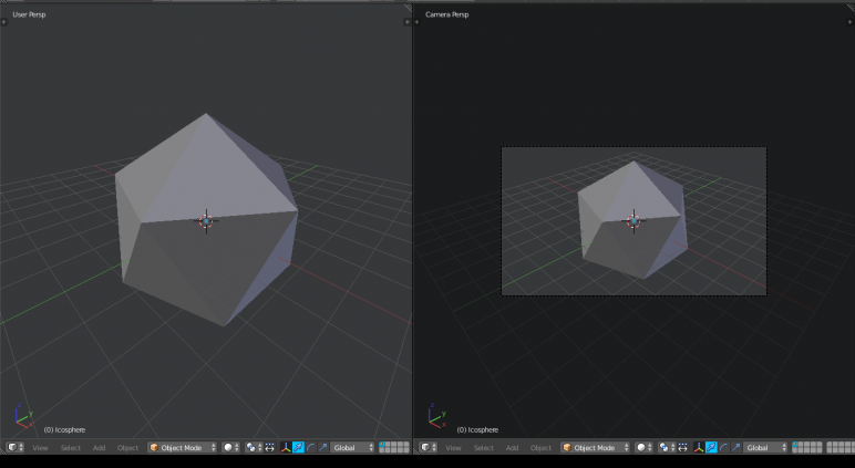 Viewport (left) compared to the view from a camera object (right)