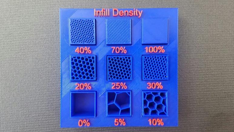 Various infill densities of the same infill pattern