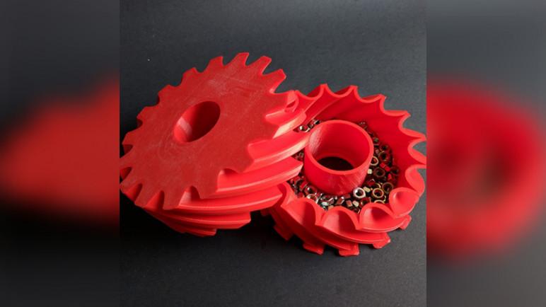 Image of Objetos 3D originales para imprimir: Caja con tapa en forma de rueda dentada