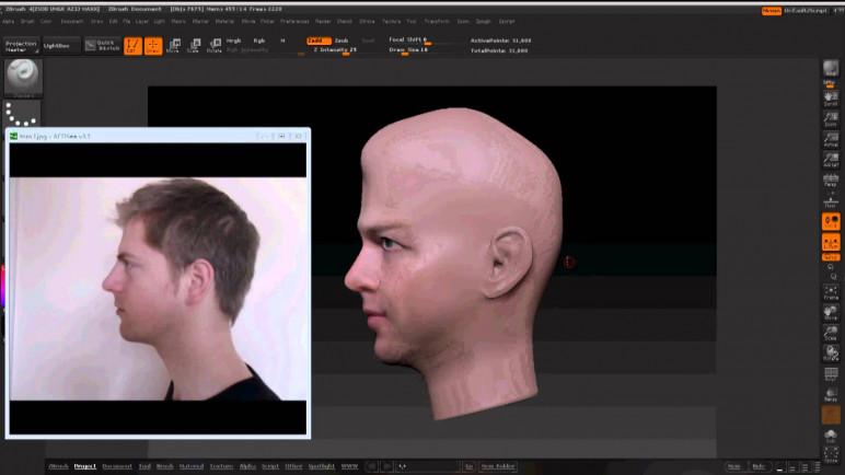 A 2D portrait turned 3D model.