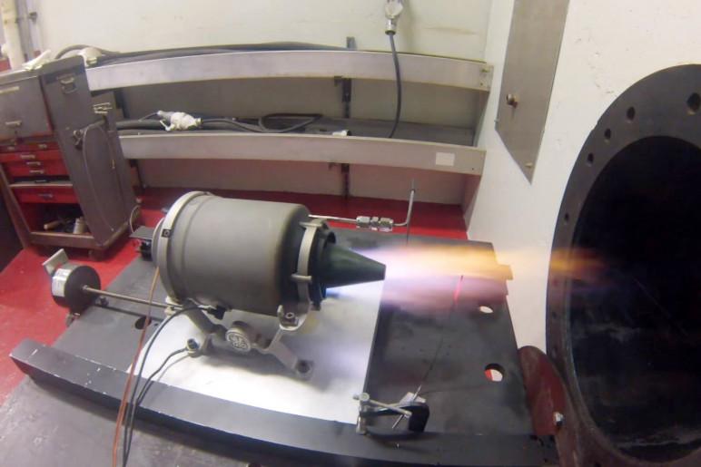 GE's mini jet engine during testing