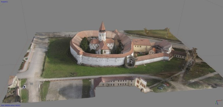 Aerial photogrammetry of a fortified church in Transylvania.
