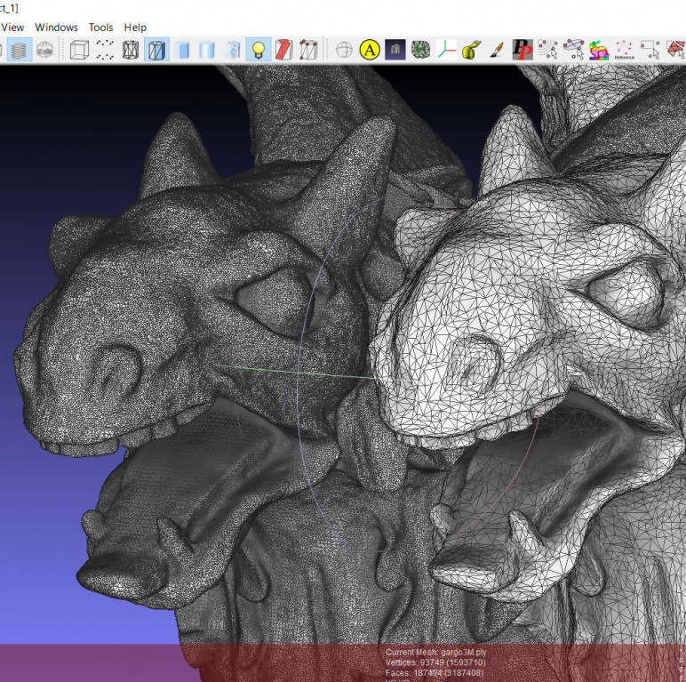 Editing the 3D mesh obtained after processing the scanned data.