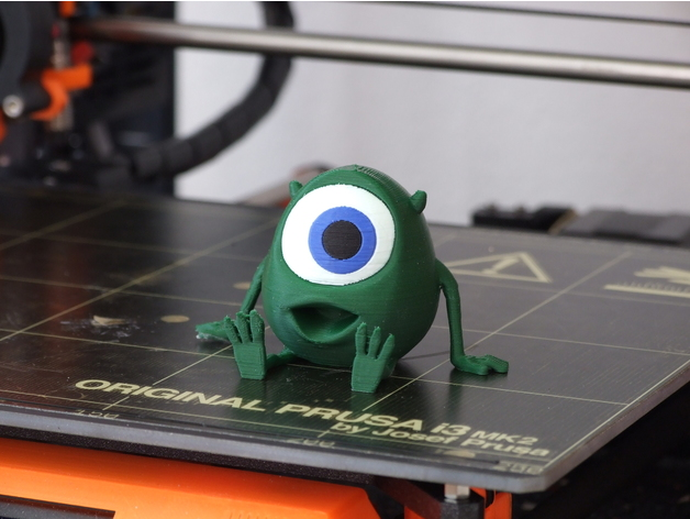 Multi-color 3D print of Mike Wazowski from the movie Monsters Inc.