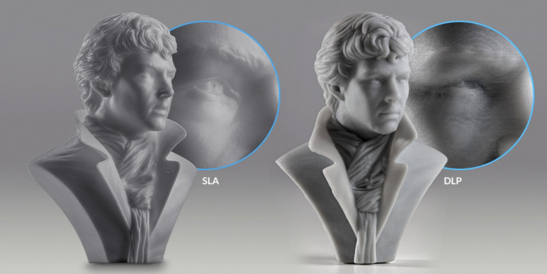 Visual appearance of SLA and DLP prints.