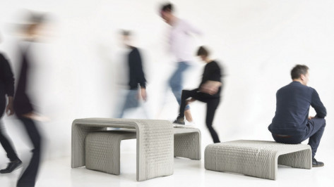 Featured image of 3D Printed Concrete Benches in Adorable Woven Pattern