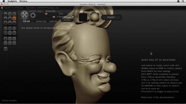 Sculptris interface