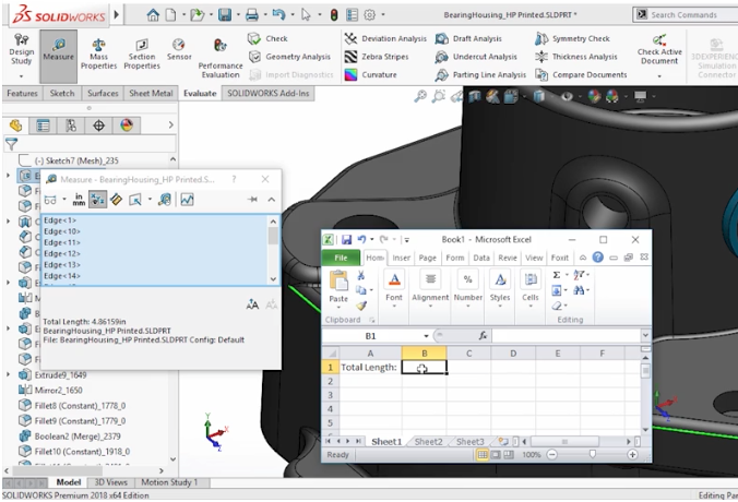SolidWorks interface - you can import values from an Excel spreadsheet
