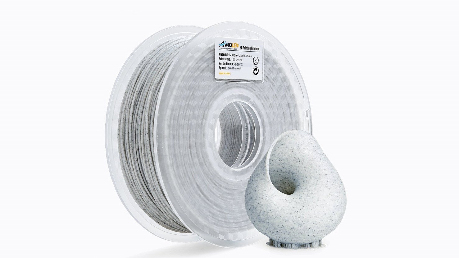 Amolen Marble-Like White PLA Filament Review | All3DP