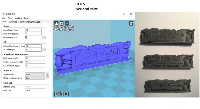 3D Printed Logos on Model.