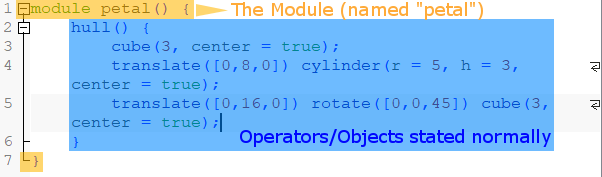 Image of: OpenSCAD Modules: Defining a Custom Action for a Custom Object