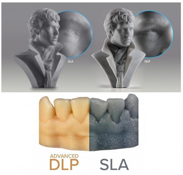 Comparison of SLA and DLP prints.