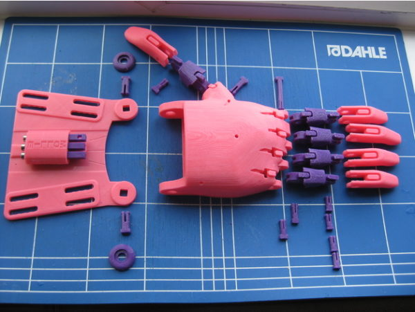 3D printed parts for the Unlimbited Phoenix, one version of e-NABLE's most popular design.