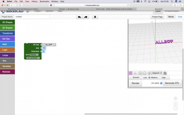 BlocksCAD user interface with 3D text saying ALL3DP for demonstration purposes