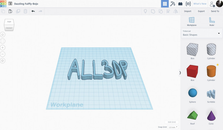 Tinkercad's UI and a demonstration of the scribble feature