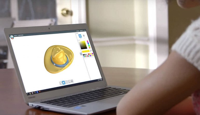 A young girl designing a hat in Solidworks's app for kids