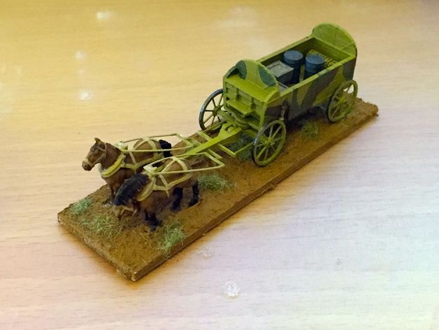 A 1:100 scale horse-drawn wagon by Will Kostelecky (a.k.a. wisar)