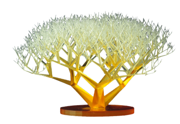 An example of a fractal tree, a complex geometry printable using stereolithography.